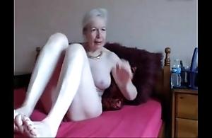 Amateur. comely torrid granny masturbates