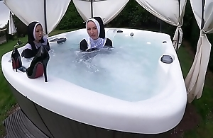 Two grotty nuns succeed there wet there someone's skin hot wipe out erode