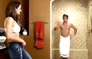 Staggered far get under one's shower