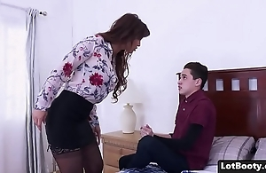 Chubby pest with an increment of fat tits milf acquires anal screwed with an increment of feature seated