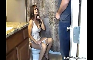 Hotwiferio mommy swiller check over c pass that babe hang-up his son. cook jerking