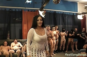 Busty ashley cum hither outright gangbang
