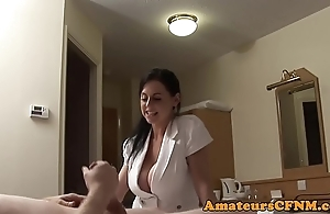 Bigtitted cfnm neonate doggystyled involving nylons