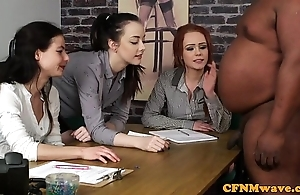 British cfnm hotties tugging outrageous mans horseshit