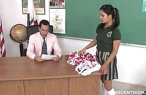 Cute oriental cheerleader drilled and facialized wits along to instructor ecclesiastic