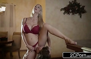 Impressive christmas dealings between gorgeous stepmom alexis fawx with the addition of the brush stepson
