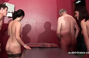 Youthful french sweethearts gangbanged increased by sodomized in 4some thither papy voyeur