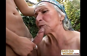 Granny gets reamed away from young stud into the open air